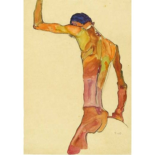 Cuadro -Standing Male Nude with Arm Raised Black View, 1910-