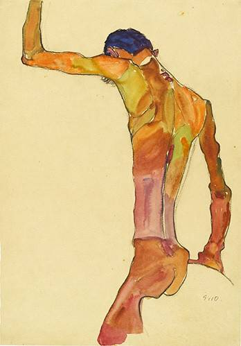 cuadros-de-retrato - Cuadro -Standing Male Nude with Arm Raised Black View, 1910- - Schiele, Egon