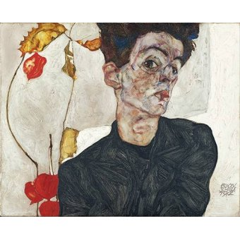 - Cuadro -Self-Portrait with Physalis- - Schiele, Egon