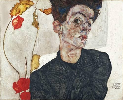 cuadros-de-retrato - Cuadro -Self-Portrait with Physalis- - Schiele, Egon