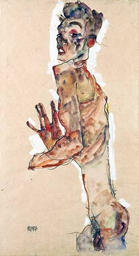 cuadros-de-retrato - Cuadro -Self-Portrait with Splayed Fingers- - Schiele, Egon