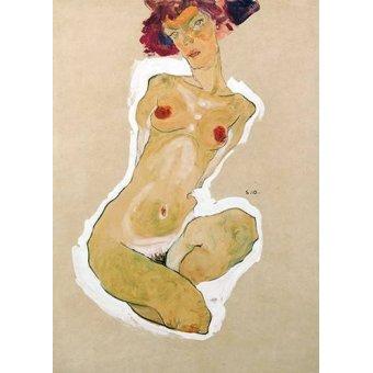 - Cuadro -Squatting Female Nude- - Schiele, Egon