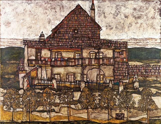 cuadros-de-paisajes - Cuadro -House with Shingle Roof (Old House II), 1915- - Schiele, Egon