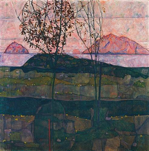 cuadros-de-paisajes - Cuadro -Setting Sun, 1913- - Schiele, Egon