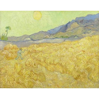 - Cuadro -Wheatfield with a Reaper, 1890- - Van Gogh, Vincent