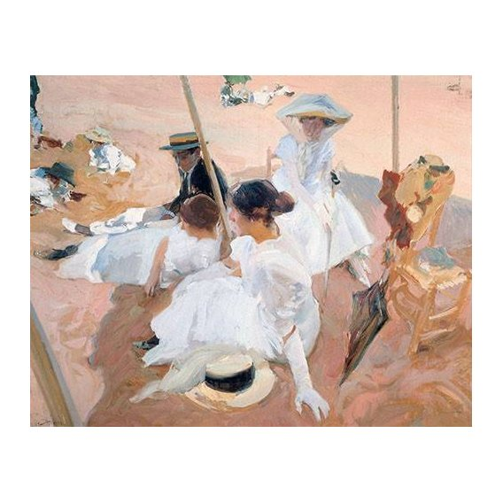 cuadros de retrato - Cuadro -Bajo la sombrilla en la playa de Zarauz-