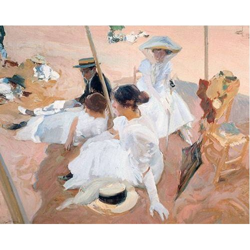 Cuadro -Bajo la sombrilla en la playa de Zarauz-