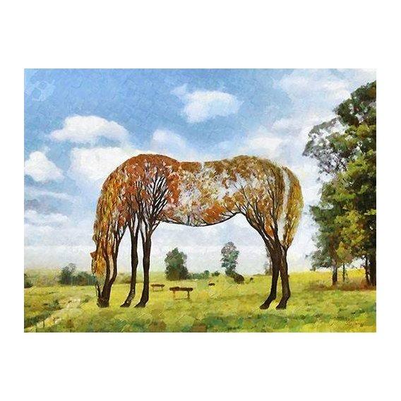 cuadros modernos - Cuadro -Moderno CM9870- (caballos)