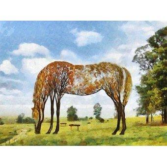 cuadros de fauna - Cuadro -Moderno CM9870- (caballos) - Medeiros, Celito