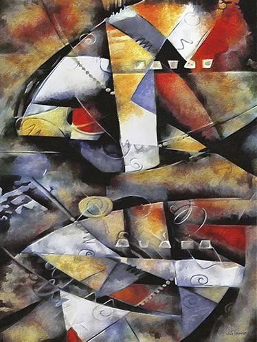 cuadros-abstractos - Cuadro -Moderno CM6706- - Medeiros, Celito