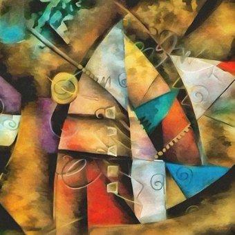 cuadros abstractos - Cuadro -Moderno CM9002- - Medeiros, Celito