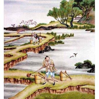 - Cuadro -Campesinos transportando agua- - _Anónimo Chino