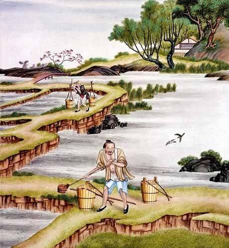 cuadros-etnicos-y-oriente - Cuadro -Campesinos transportando agua- - _Anónimo Chino