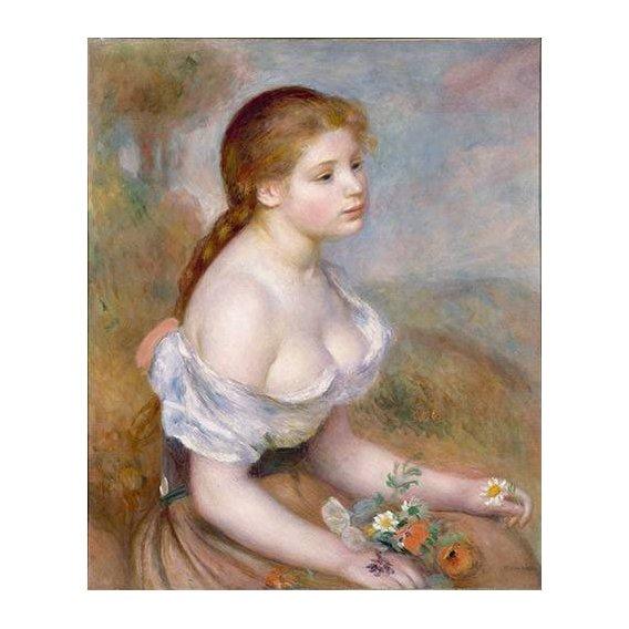 cuadros de retrato - Cuadro -Jovencita con margaritas-