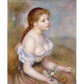- Cuadro -Jovencita con margaritas- - Renoir, Pierre Auguste