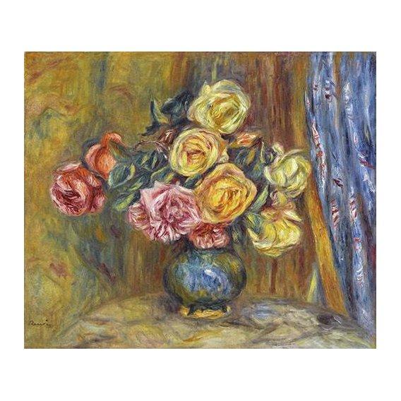 cuadros de flores - Cuadro -Rosas y cortina azul-