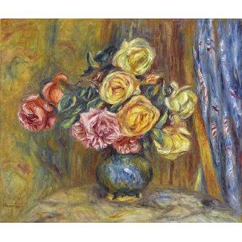 - Cuadro -Rosas y cortina azul- - Renoir, Pierre Auguste