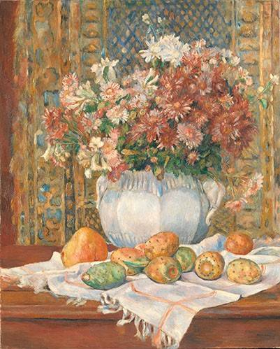 cuadros-de-bodegones - Cuadro -Still Life with Flowers and Prickly Pears, 1885- - Renoir, Pierre Auguste