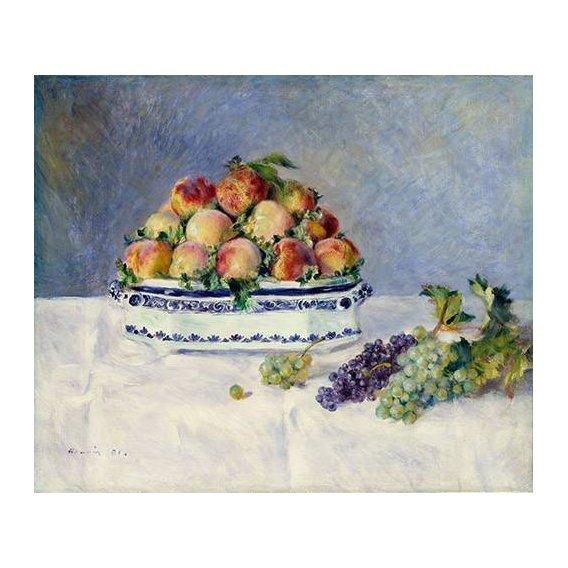 cuadros de bodegones - Cuadro -Still Life with Peaches and Grapes, 1881-