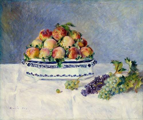 cuadros-de-bodegones - Cuadro -Still Life with Peaches and Grapes, 1881- - Renoir, Pierre Auguste
