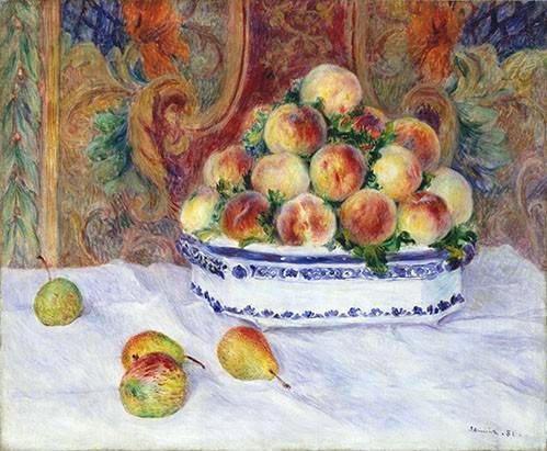 cuadros-de-bodegones - Cuadro -Still Life with Peaches, 1881- - Renoir, Pierre Auguste