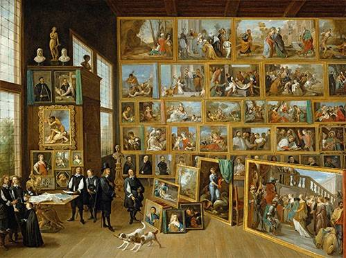 cuadros-de-retrato - Cuadro -Archiduque Leopold William en su Galeria, Bruselas- - Teniers, David