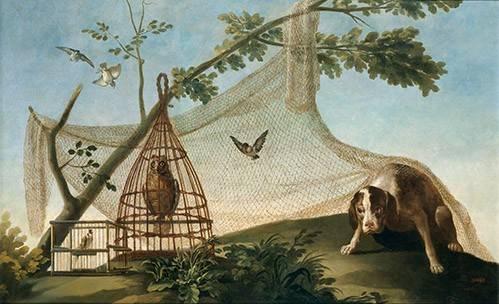 cuadros-de-fauna - Cuadro -Caza con reclamo- - Goya y Lucientes, Francisco de