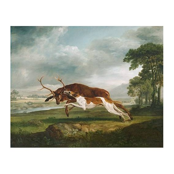 cuadros de fauna - Cuadro -Hound Coursing a Stag- (caza)