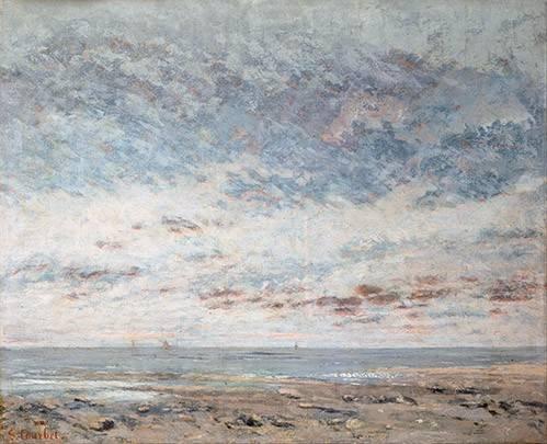 cuadros-de-marinas - Cuadro -Marea baja en Trouville, 1865- - Courbet, Gustave