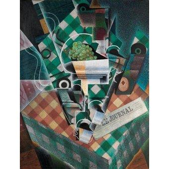 cuadros abstractos - Cuadro -Naturaleza muerta con mantel- - Gris, Juan