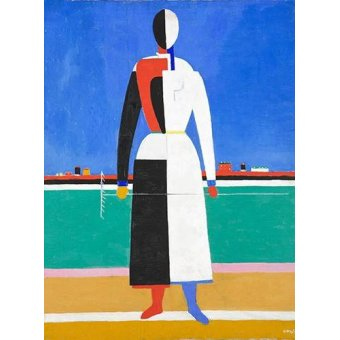 cuadros abstractos - Cuadro -Woman with rake, 1930-32- - Malevich, Kazimir S.