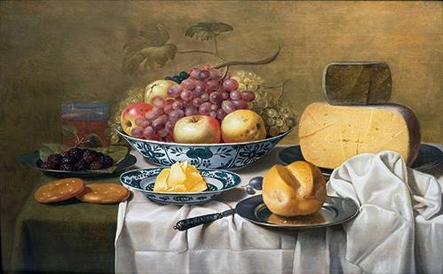 cuadros-de-bodegones - Cuadro -Still Life of Fruit and Cheese- - Schooten, Floris Gerritz Van