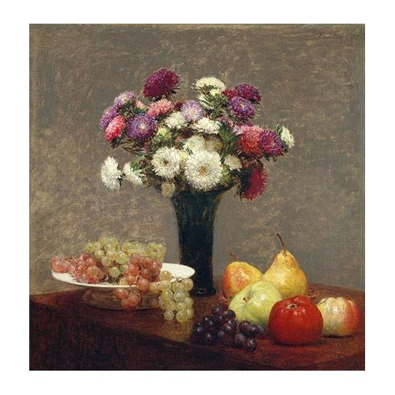 cuadros de bodegones - Cuadro -Asters and Fruit on a Table-