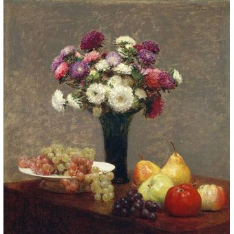 - Cuadro -Asters and Fruit on a Table- - Fantin Latour, Henri