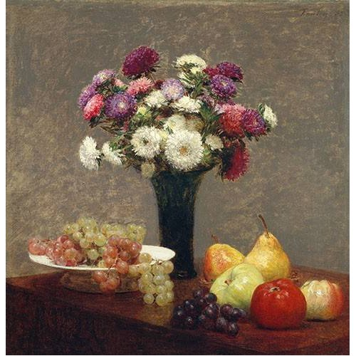 Cuadro -Asters and Fruit on a Table-