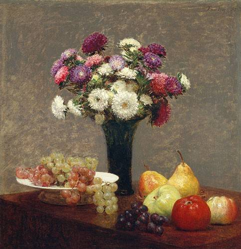 cuadros-de-bodegones - Cuadro -Asters and Fruit on a Table- - Fantin Latour, Henri