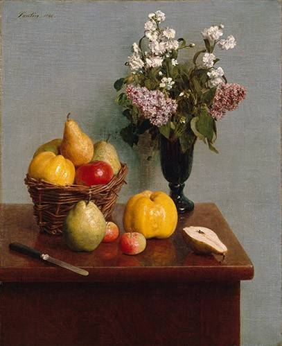 cuadros-de-bodegones - Cuadro -Still Life with Flowers and Fruit- - Fantin Latour, Henri