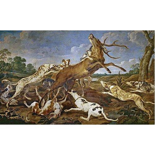 cuadros de fauna - Cuadro -Ciervo acosado por una jauría de perros (Caza)-