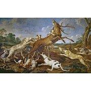 Cuadro -Ciervo acosado por una jauría de perros (Caza)-