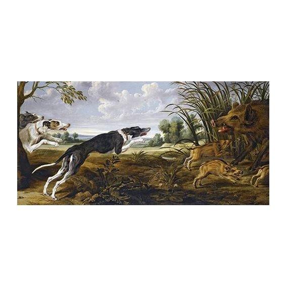 cuadros de fauna - Cuadro -Cazeria de jabalies (Caza)-