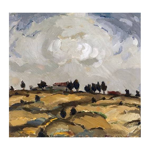cuadros de paisajes - Cuadro -Autumn landscape with clouds-