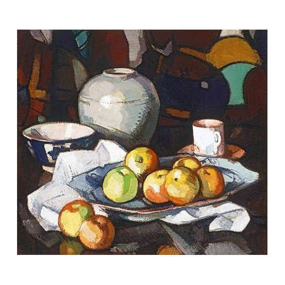 cuadros de bodegones - Cuadro -Still life apples and jar-