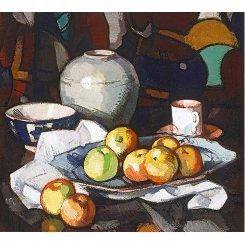 Cuadro -Still life apples and jar-