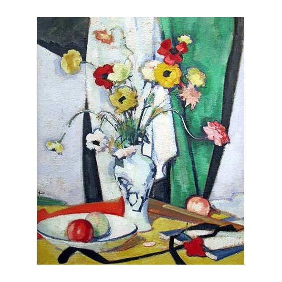 cuadros de bodegones - Cuadro -Still life with flowers fruit and fan-