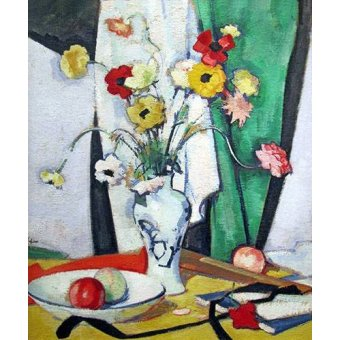 - Cuadro -Still life with flowers fruit and fan- - Peplow, Samuel