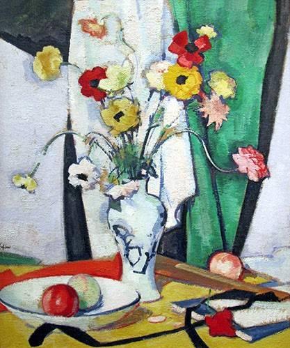 cuadros-de-bodegones - Cuadro -Still life with flowers fruit and fan- - Peplow, Samuel