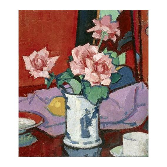 cuadros de flores - Cuadro -Pink Roses, Chinese Vase-