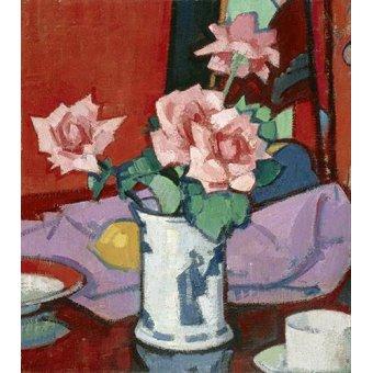 - Cuadro -Pink Roses, Chinese Vase- - Peplow, Samuel