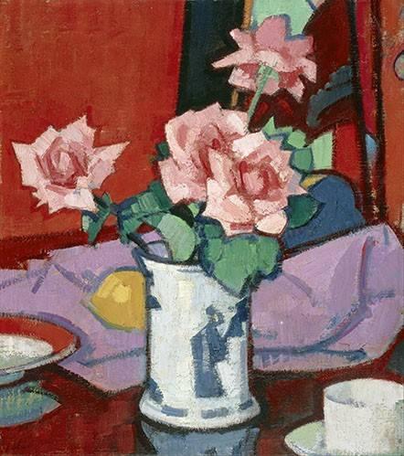 cuadros-de-flores - Cuadro -Pink Roses, Chinese Vase- - Peplow, Samuel