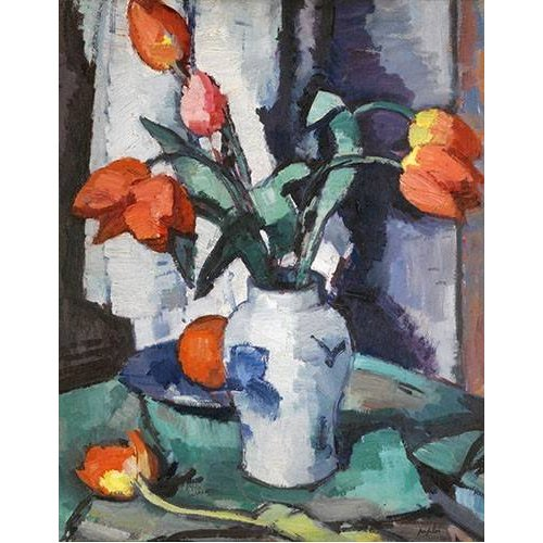 cuadros de flores - Cuadro -Orange tulips, Chinese Vase-